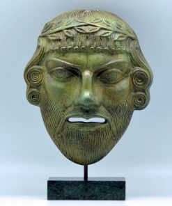 Dionysus theatrical oxidized bronze mask (28 cm)