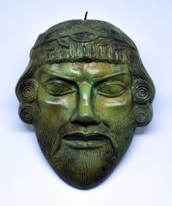 Dionysus theatrical oxidized bronze mask (25 cm)