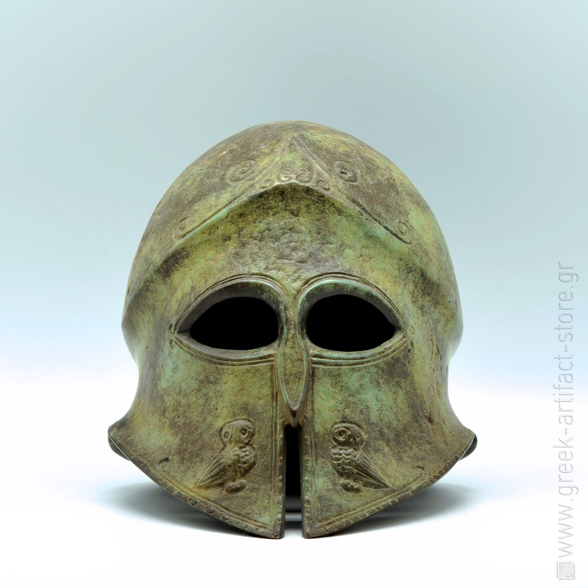 Athenian helmet oxidized bronze (20 cm)