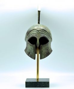 Spartan helmet oxidized bronze with marble base (42 cm)