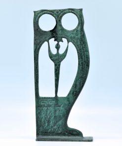 Owl oxidized bronze statues (26 cm)