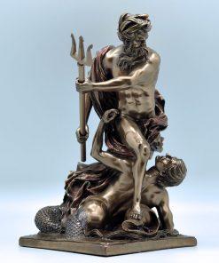 Poseidons bronze plated statue (28,5 cm)