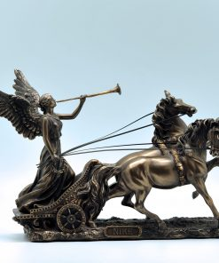 Nike on her chariot bronze plated statue (28,8 cm)