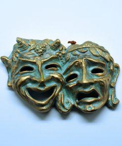 Double ceramic theatrical mask (13x18 cm)