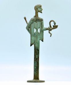 Aesculapius (oxidized bronze statue) (27 cm)