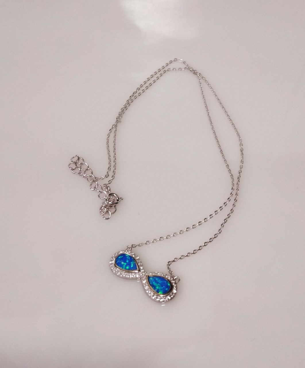 Handmade 925 Silver Necklace With Opal Stone , Infinity Symbol.