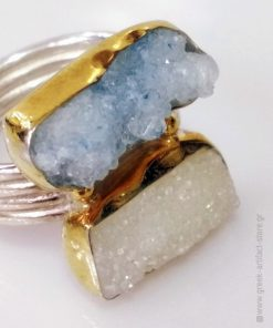 Handmade 925 Silver Ring with Goldplated details, Natural Ligth Blue and White Geode Stones.