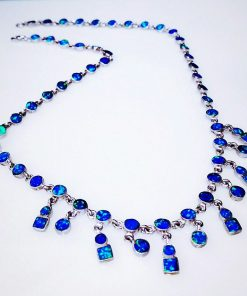 Handmade 925 Silver Necklace with Opal Stone.
