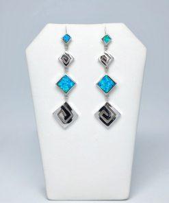 Handmade Stud Silver earrings 925 (13,5mm X 50mm)
