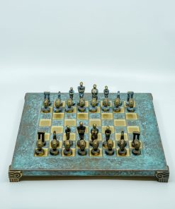 Handmade Oxidized Bronze Chess Set (28x25cm/11.02''X1.02'')
