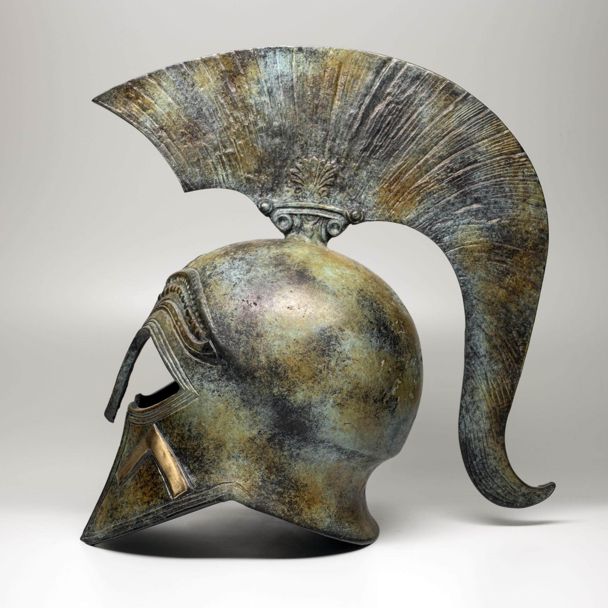 Spartan-Style Helmet Handmade Oxidized Bronze (28cm/11.02'' Tall)