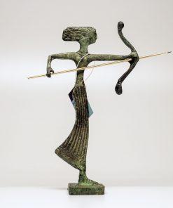 Artemis (handmade oxidized bronze statue) (16cm/6.29'' Tall)