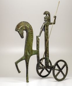 Athena on her chariot (Oxidized bronze) (14cm/5.51'' Tall)