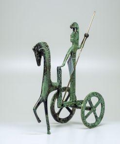 Athena on her Chariot (handmade oxidized bronze statue) (21cmx17/8.26''x6.69'' Tall)