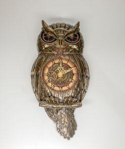 Owl Handmade Bronze Plated Wall Clock (30cm/11.81''Tall)